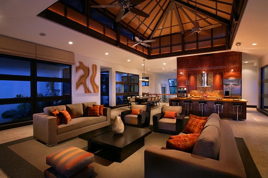 Orange and Black Interiors Living Rooms, Bedrooms and Kitchens - orange and brown living room