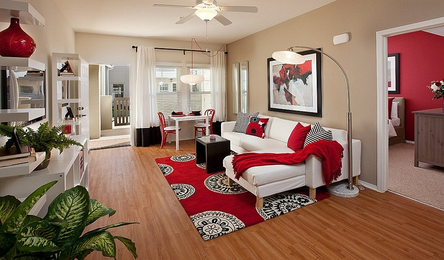 Red Living Rooms Design Ideas, Decorations, Photos - red and black living room set