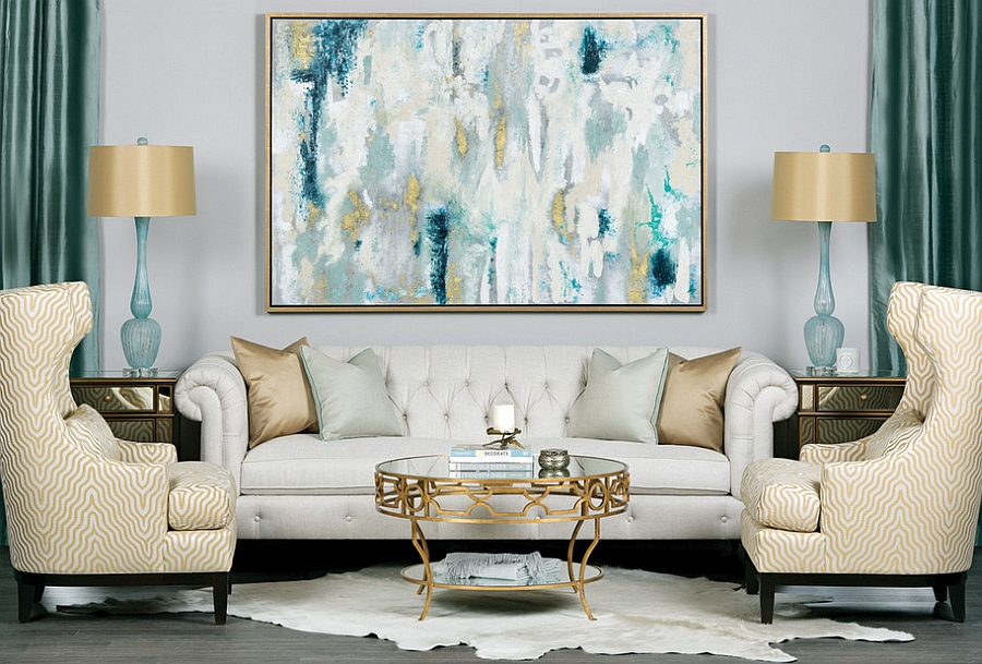 Yellow and Blue Interiors Living Rooms, Bedrooms, Kitchens - black white and gold living room ideas