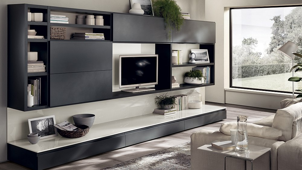 12 Dynamic Living Room Compositions with Versatile Wall Unit Systems - wall units for living rooms