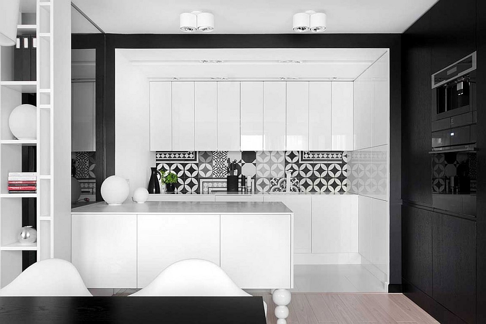 3d Shelves Wallpaper Posh Monochromatic Apartment By Widawscy Studio Architektury