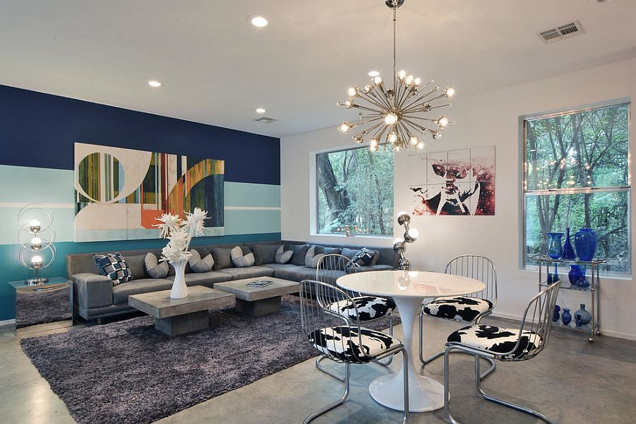 15 Fabulous Living Rooms with Striped Accent Walls - accent wall in living room
