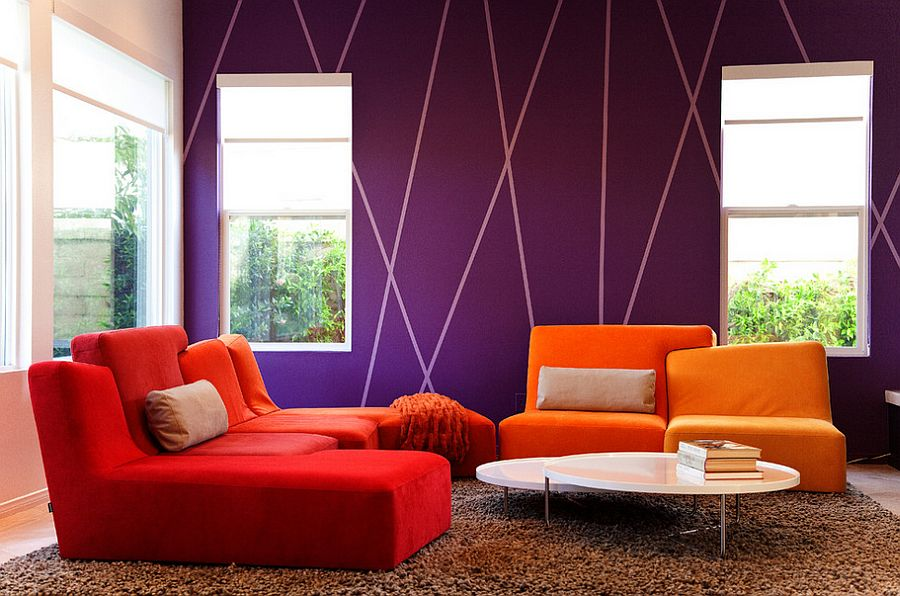 15 Fabulous Living Rooms with Striped Accent Walls - accent wall ideas for living room
