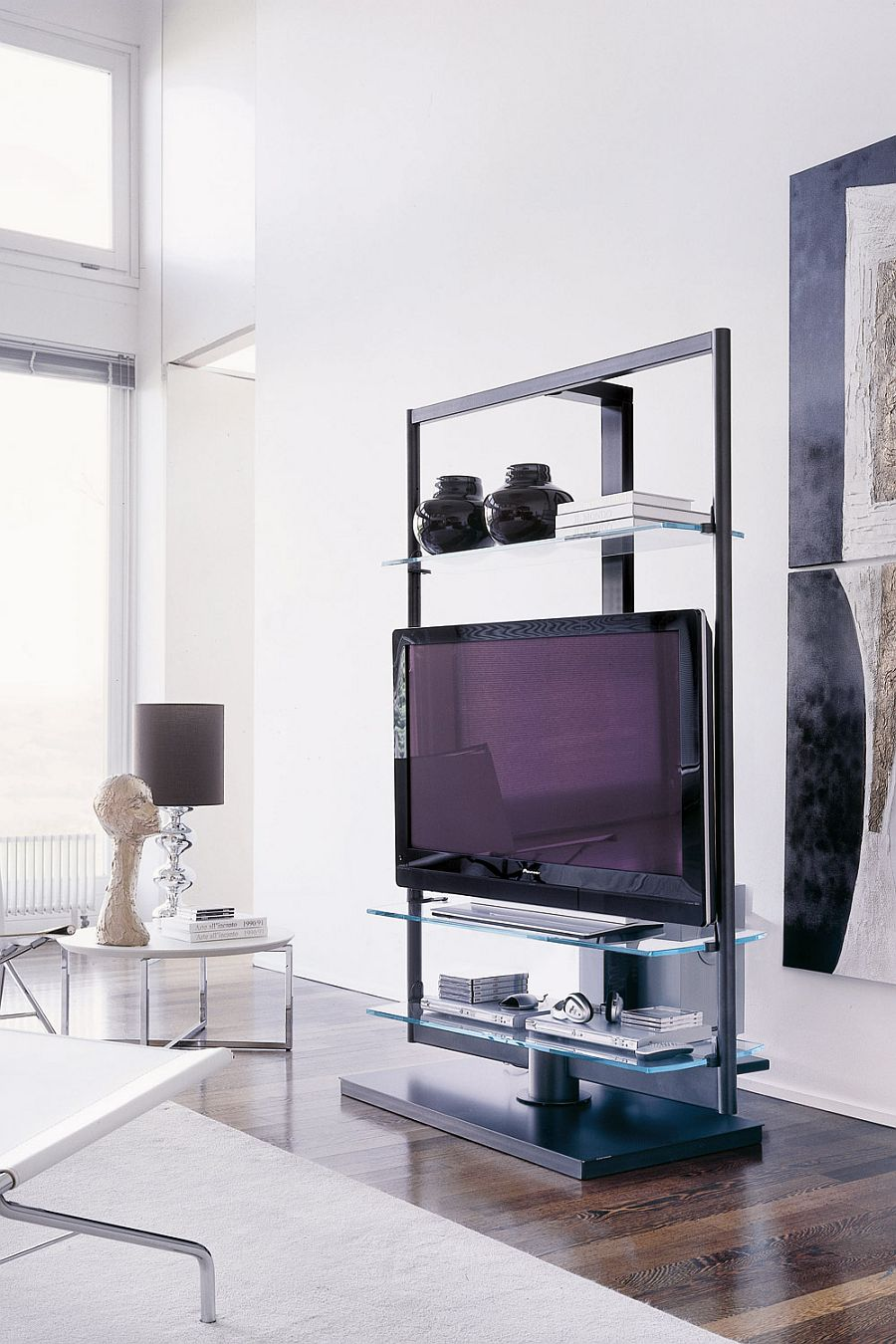 Small Tv Wall Shelf Tv Stand For Floor With Glass Shelves 8 9 Sayedbrothers Nl