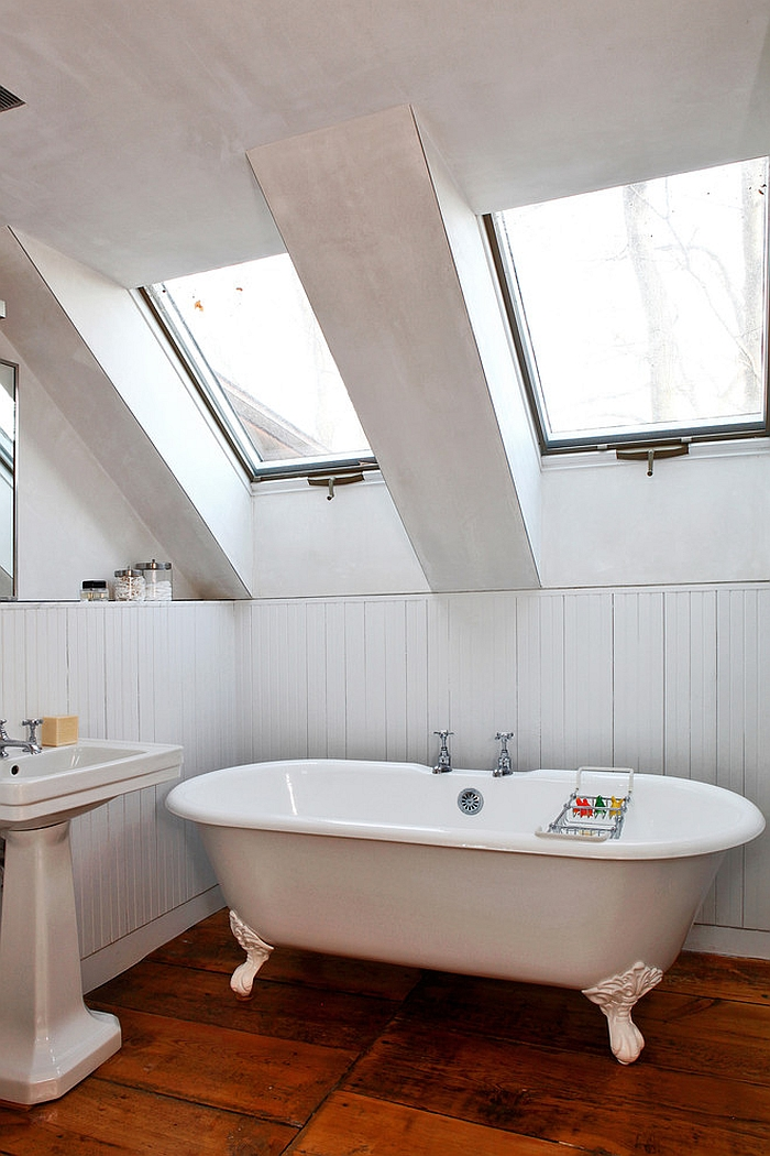 Turn the attic bathroom into a relaxing retreat with skylights from