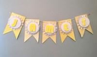 DIY Baby Shower Banner Yellow - Decoist