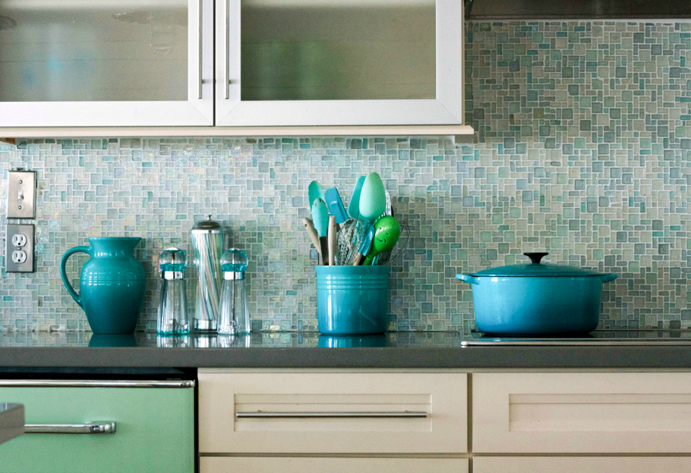 fan reflective effect tiles kitchen backsplash tile ideas