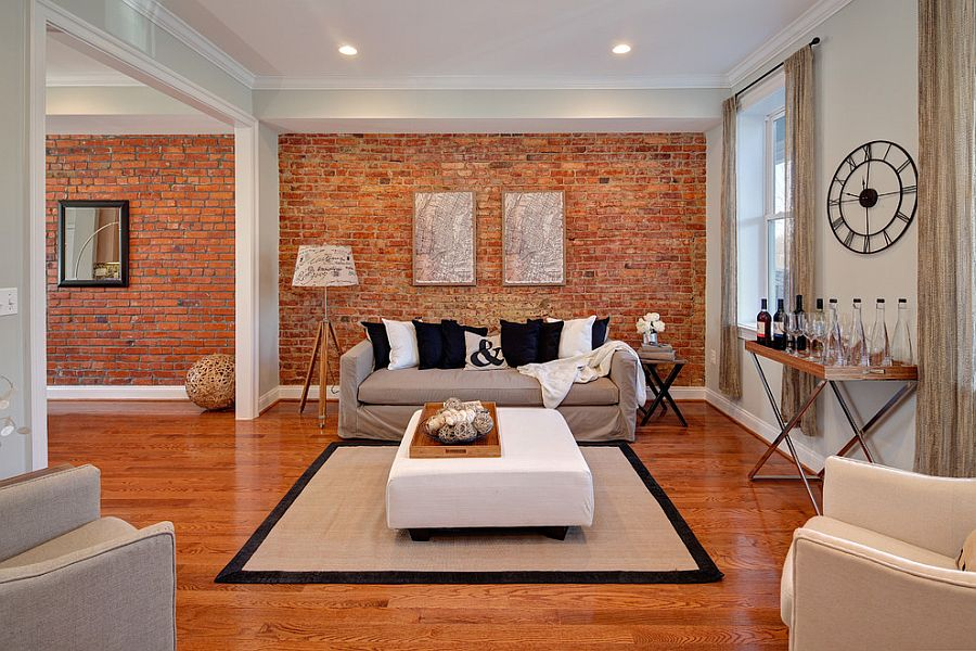 100 Brick Wall Living Rooms That Inspire Your Design Creativity - accent wall in living room