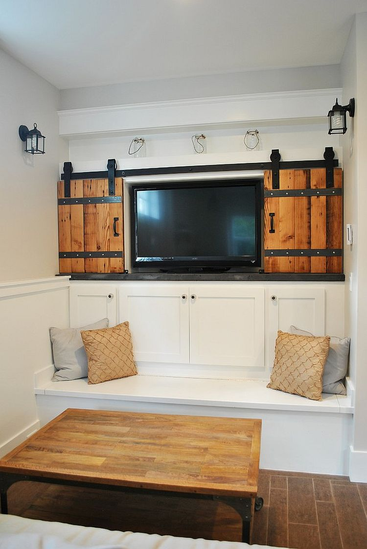 Sliding Barn Door Entertainment Center 25 Ingenious Living Rooms That Showcase The Beauty Of