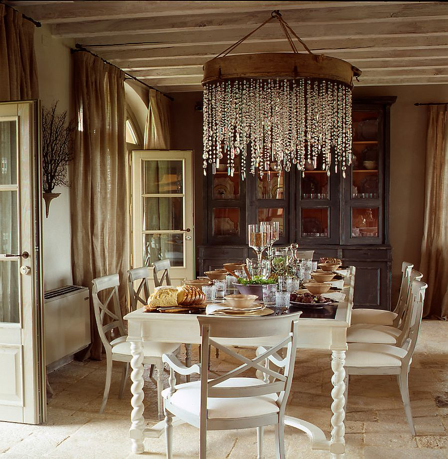 grand chandelier and cozy color scheme for the inviting