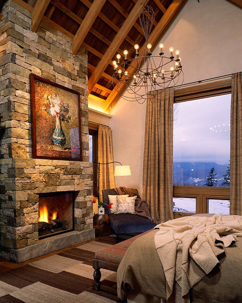custom mix of local stones for the bedroom fireplace design poss architecture planning