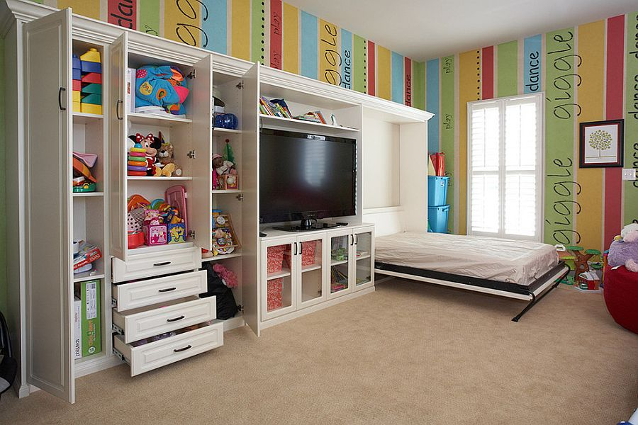 A Perfect Blend Combing the Playroom and Guestroom in Style - bedroom living room combo
