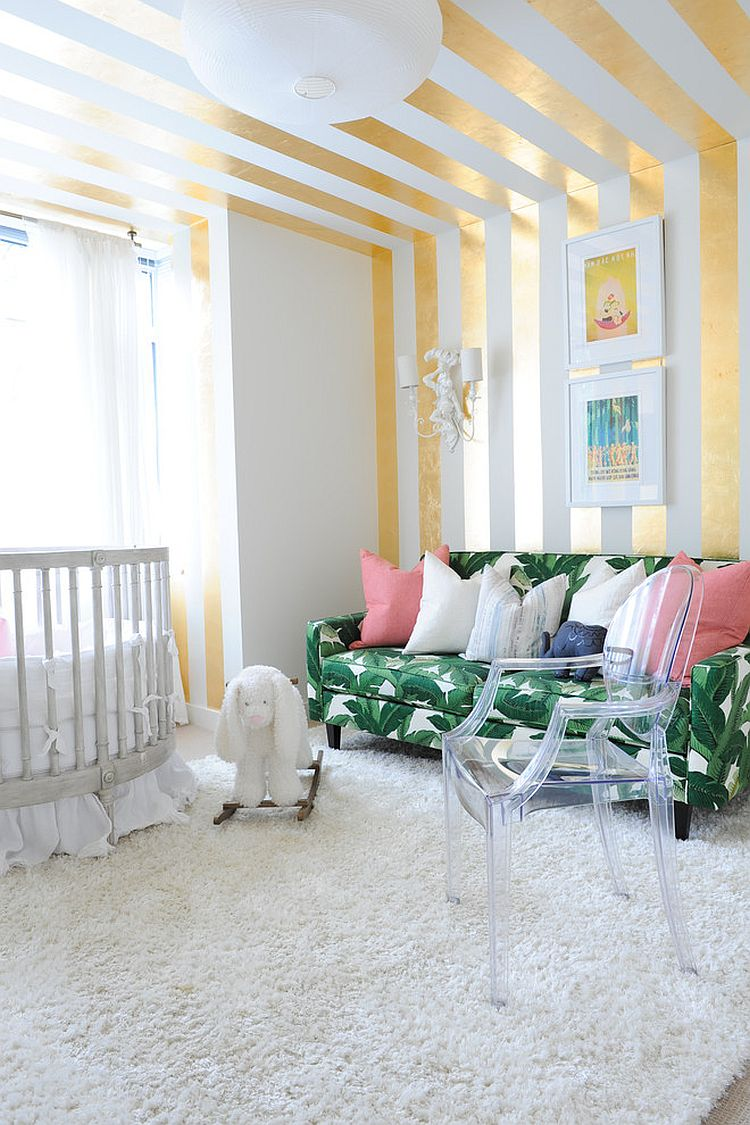 Teenage Girl Room White And Gold Polka Dot Wallpaper 20 Chic Nursery Ideas For Those Who Adore Striped Walls
