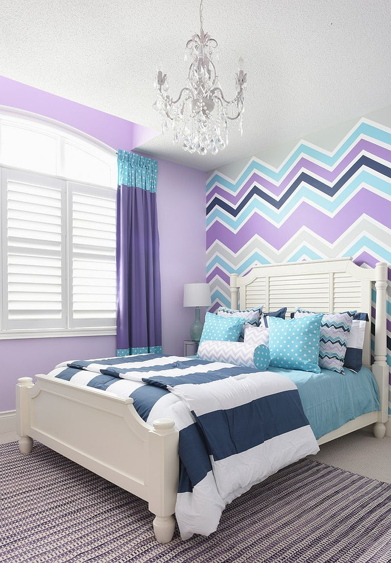 Bright Turquoise Wallpaper For Girls Room 25 Kids Bedrooms Showcasing Stylish Chevron Pattern