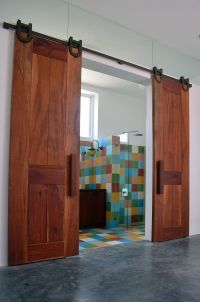 Sliding barn doors for the colorful bathroom - Decoist