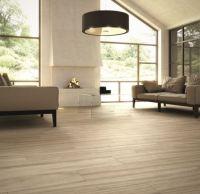 Wood-effect porcelain tile in the living room - Decoist