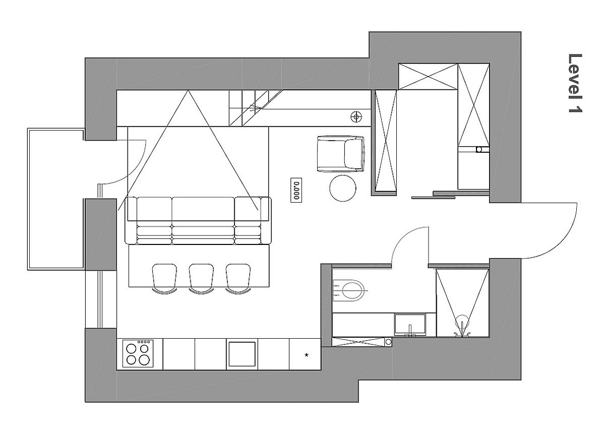 Amazing Gallery Plan A Loft Bedroom Level Bedroom Adds Extra Space To Small Kiev Apartment Small Apartment Plans Less Than 500 Sq Ft Small Apartment Plans Designs Small Apartment View apartment Small Apartment Plan