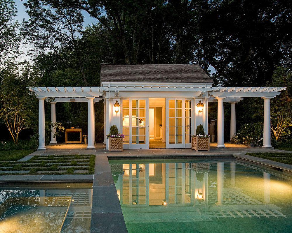 Noble Gallery Twin Pergolas Add Elegance To Classic Merrimack Design Houses To Complete Your Dream Backyard Retreat Tiny Backyard S Tiny Backyard Ideas View outdoor Tiny Backyard Pool