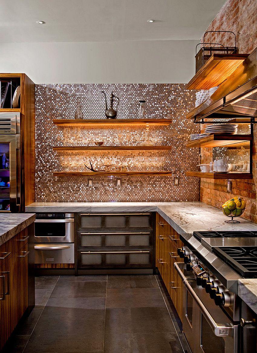 copper penny tile backsplash brings glamour kitchen design copper accent backsplash backsplash patterns pictures ideas tips