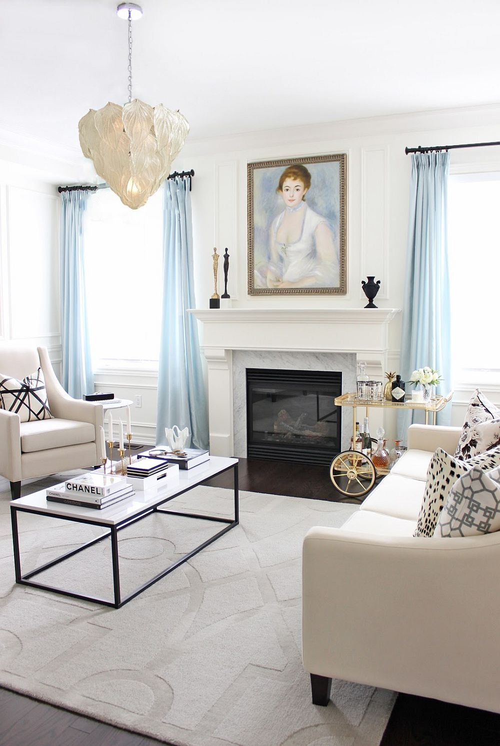 Grey White And Blue Living Room 15 Blue Drapes And Curtain Ideas For A Stunning Modern Interior