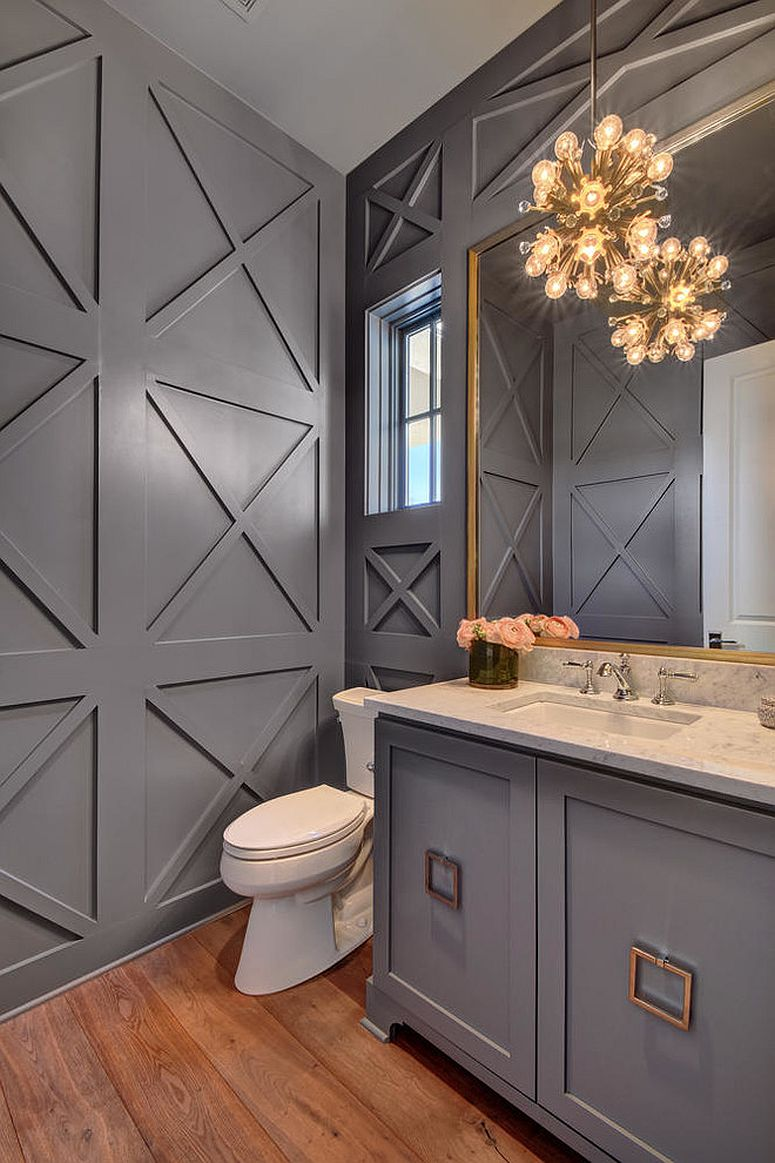 Refined And Refreshing Trendy Powder Rooms In Gray And Turquoise