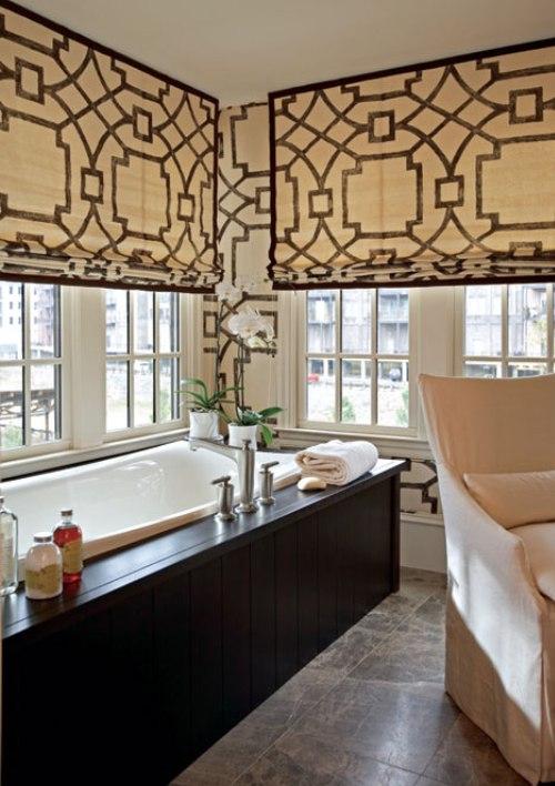Fretwork window treatments contemporary bathroom traditional
