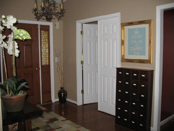 Gray And Brown Living Room Entrance/foyer