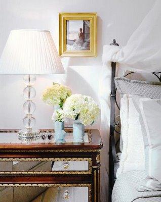 Silver Animal Print Wallpaper Mirror Nightstand Eclectic Bedroom Lonny Magazine