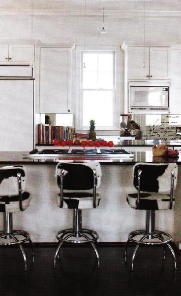 Kitchen Island Height Cowhide Bar Stools - Transitional - Kitchen