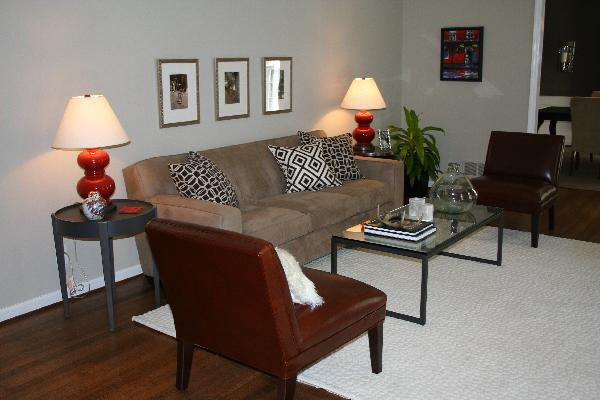 Red and Brown Living Room - Transitional - living room - Benjamin - red and brown living room