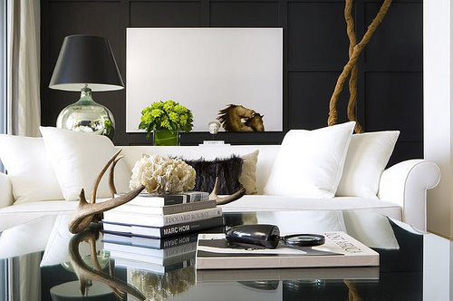 Living Room With Black Walls Design Ideas - black and white living rooms