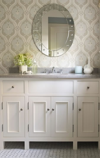 blue and gray wallpaper - traditional for bathrooms