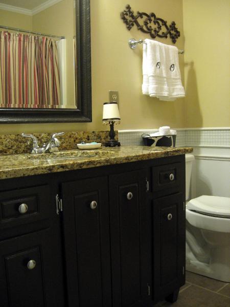 Black Beadboard Wallpaper Bathroom