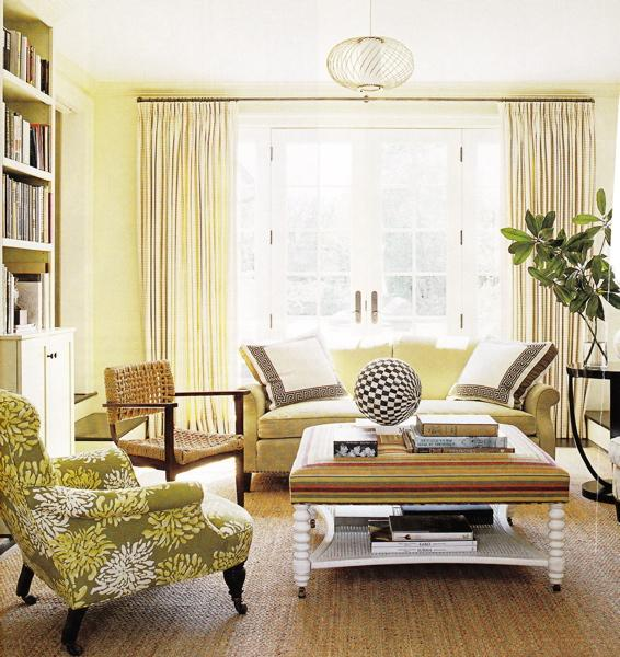 Yellow Couch - Cottage - living room - yellow living room walls