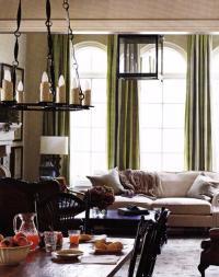 Green Silk Curtains - Transitional - living room