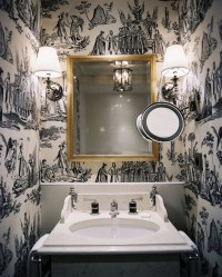 Black and White Toile Wallpaper - Transitional - bathroom ...