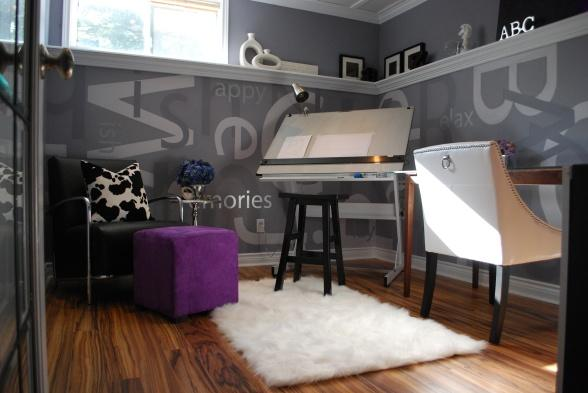Purple Ottoman - Contemporary - den/library/office - HGTV