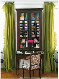 Green Silk Curtains - Transitional - den/library/office