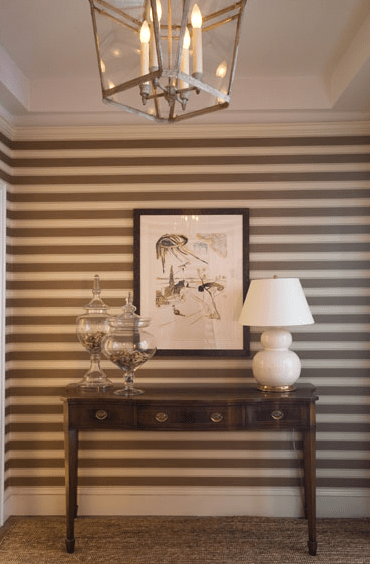 3d Silk Effect Wallpaper Horizontal Striped Walls Transitional Entrance Foyer