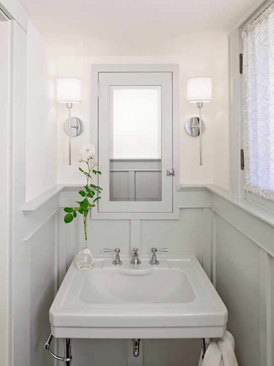 Gray wainscoting cottage bathroom jessica helgerson