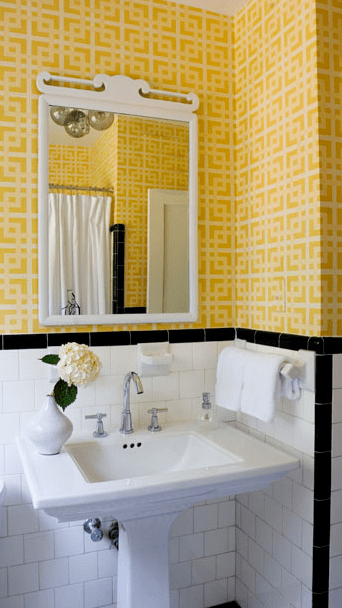 Yellow Geometric Wallpaper Transitional Bathroom Angie Hranowski