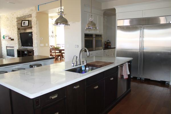 Beautiful Kitchens With Islands Calcutta Marble Countertops - Transitional - Kitchen