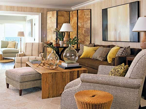 Cojines Chocolate Brown And Yellow Living Room - Transitional - Living Room
