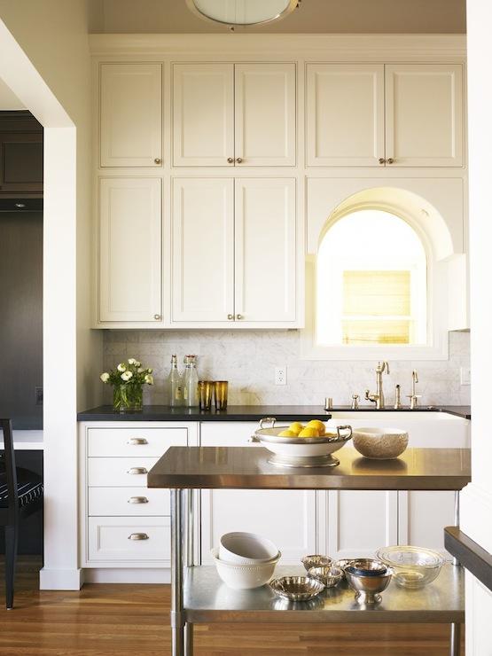 Black Beadboard Wallpaper Kitchen Pass Through Transitional Kitchen Artistic