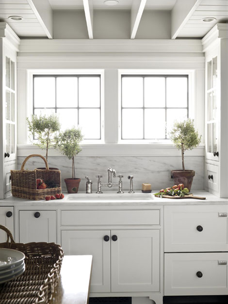 Ikea Pantry Storage White Cabinets With Orb Pulls - Cottage - Kitchen