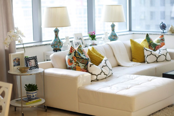 White Leather Sectional - Eclectic - living room - Caitlin Wilson - white sectional living room
