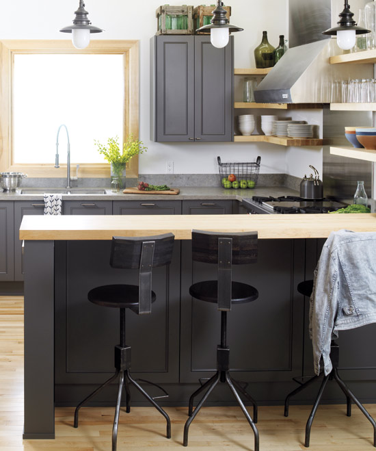Maple Kitchen Cabinets With Gray Walls Charcoal Gray Cabinets - Design, Decor, Photos, Pictures