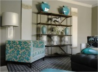Turquoise Accents - Contemporary - living room - Caldwell ...