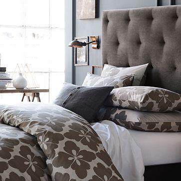 Purple And Black Bedroom Wallpaper Diamond Tufted Headboard West Elm