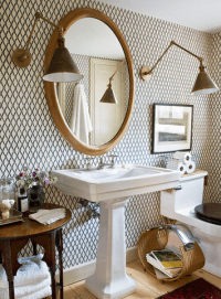 Lattice Wallpaper - Contemporary - bathroom